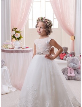 Cheap Ball Gown Bateau Lace & Tulle Long Chapel Train Ivory Flower Girl Dress Quebec