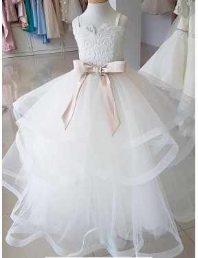 Cheap Ball Gown High Neck Lace & Tulle Long Floor Length Ivory Flower Girl Dress Quebec