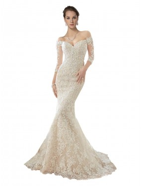 Cheap Mermaid Off the Shoulder Lace & Tulle Long Chapel Train Ivory & Champagne Blake Wedding Dress Quebec